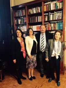 Judge Gladys Alvarez, Kimberlee Kovach, Eric Galton, and Justice Elena Highton de Nolasco at the Supreme Court of Argentina in Buenos Aires